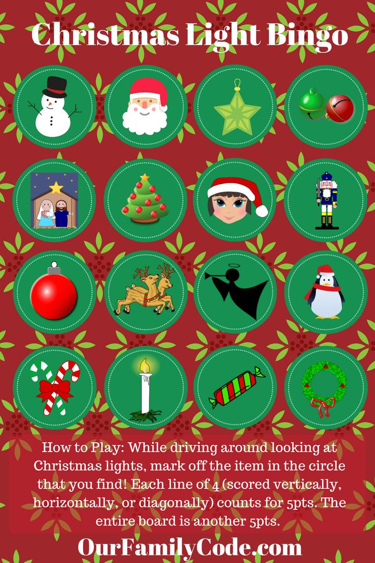 Free Printable - Christmas Light Bingo