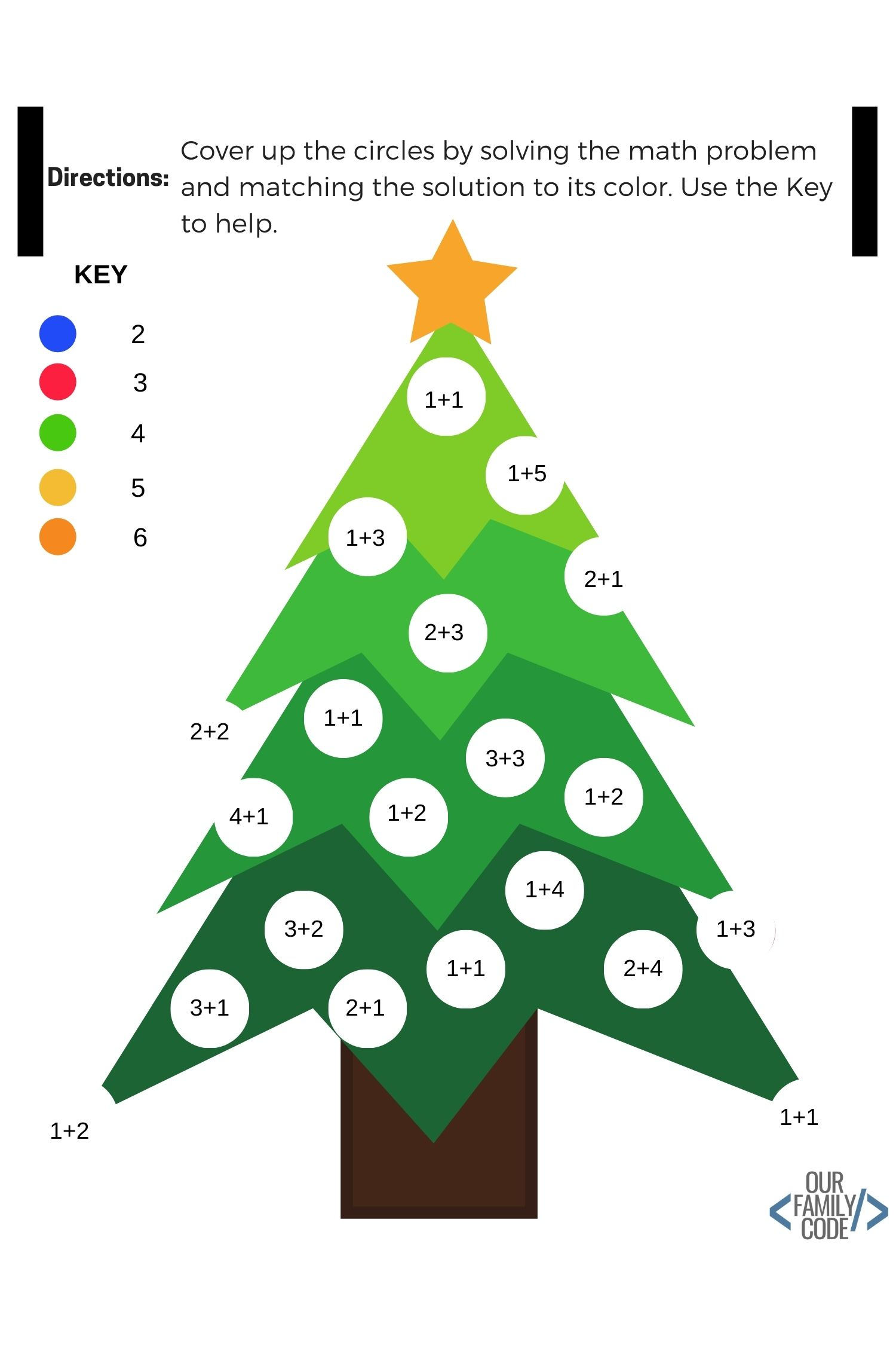 12 days of free christmas kids activity worksheets christmas tree addition