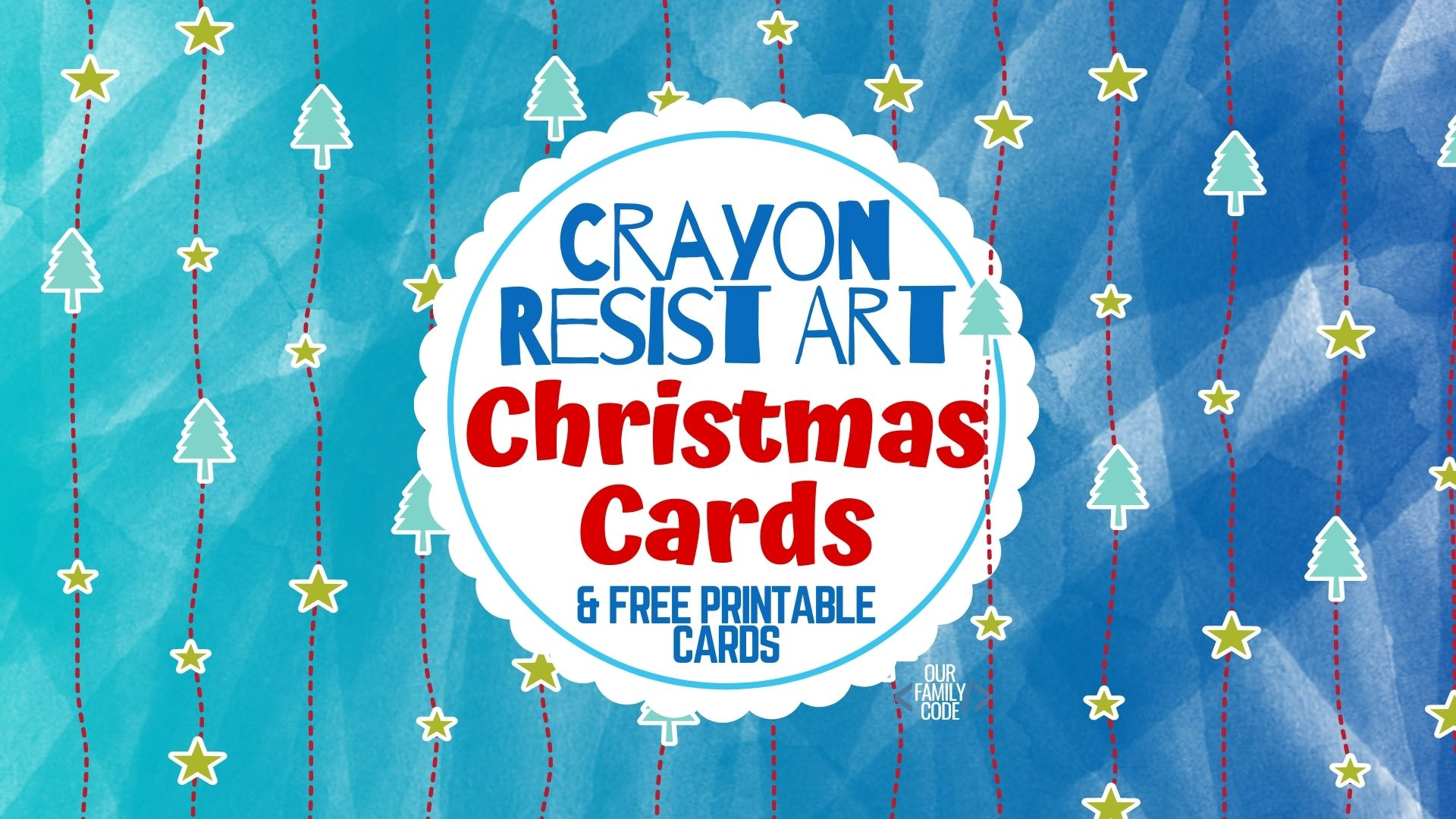 Crayon Resist Art Christmas Cards STEAM Holiday Activity for Kids