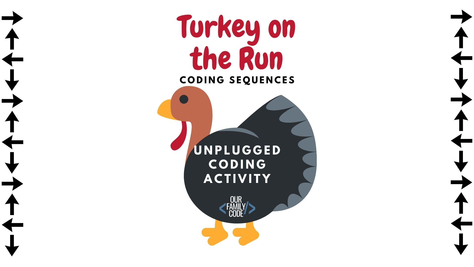 Find the correct sequence to help turkey escape before he becomes Thanksgiving dinner in this unplugged coding worksheet for kids! #teachkidstocode #freeworksheets #thanksgivingactivitiesforkids #STEM #STEAM #unpluggedcoding #hourofcode