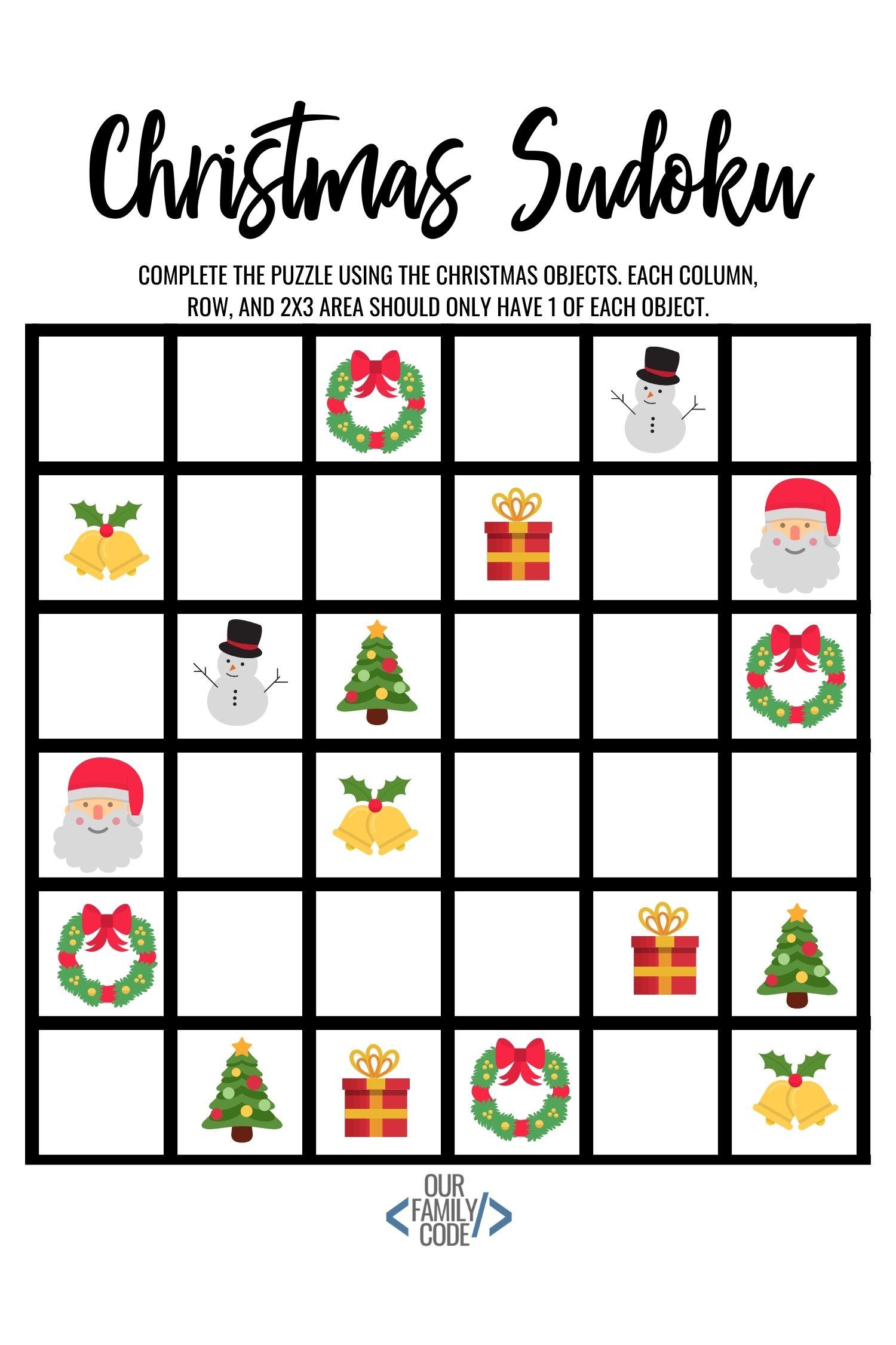 Christmas Sudoku.Christmas Sudoku Logical Reasoning Activity For Kids