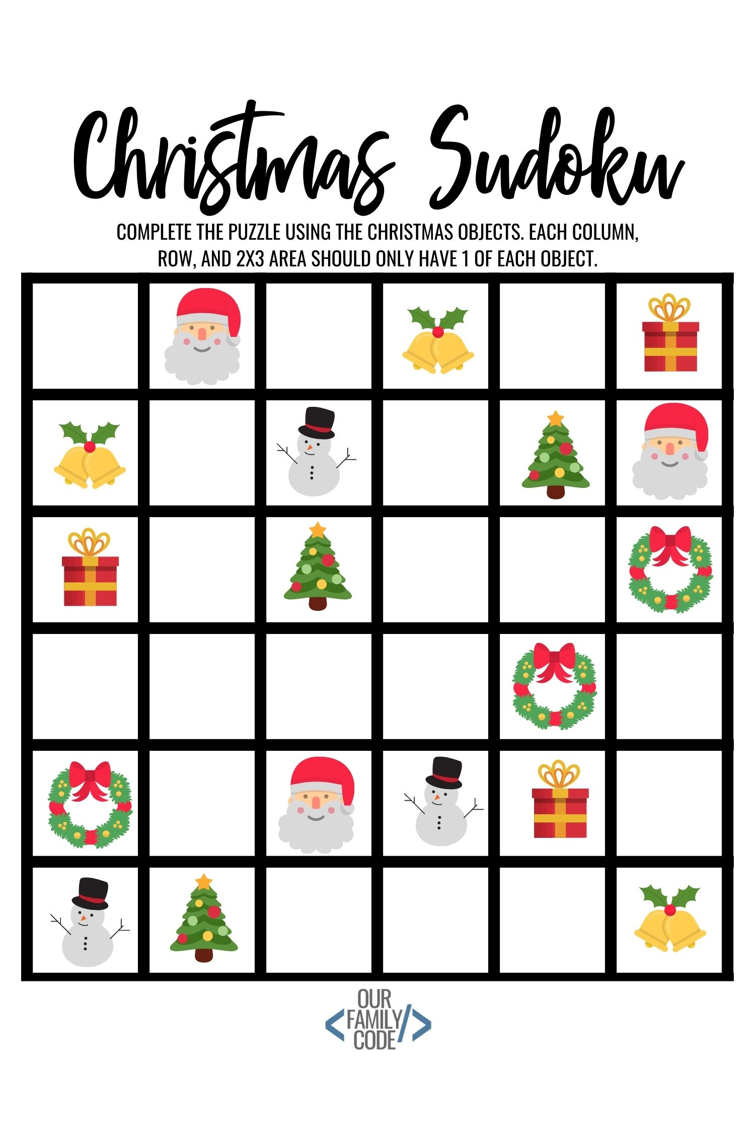 It is an image of Clean Christmas Sudoku Printable