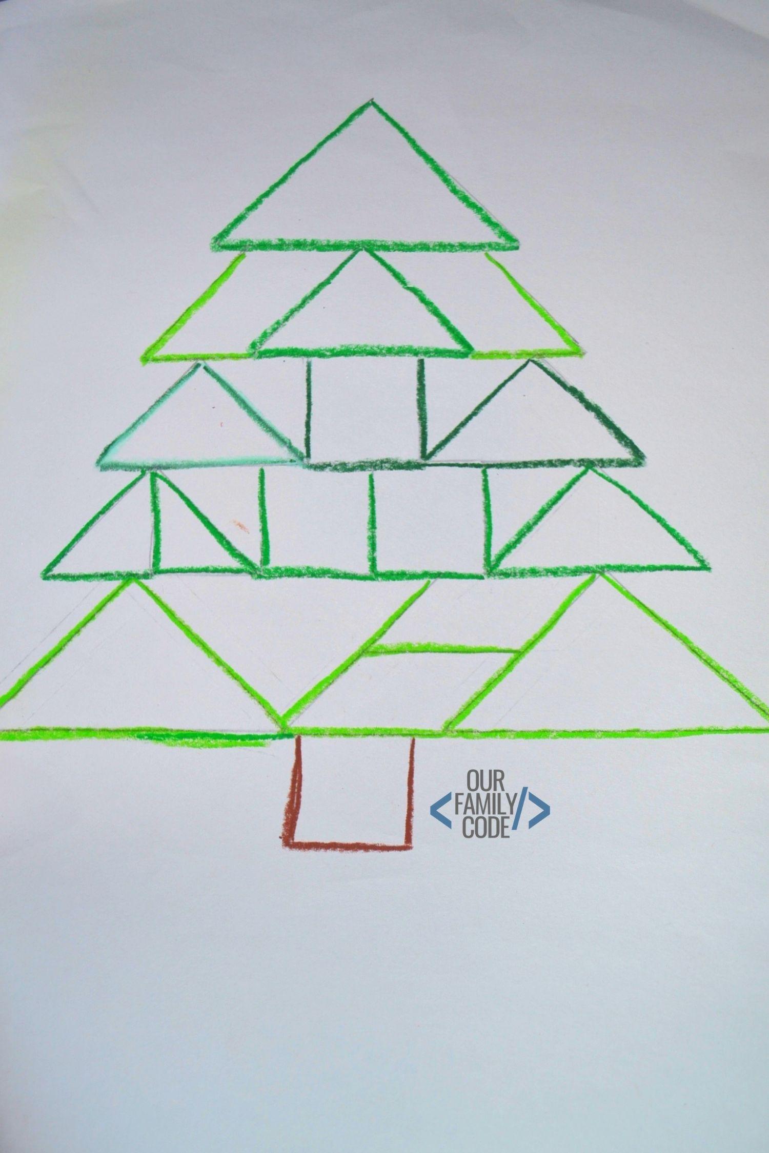 Christmas Tree Tangram: Christmas Tangram Oil Resist Art Preschool STEAM Activity
