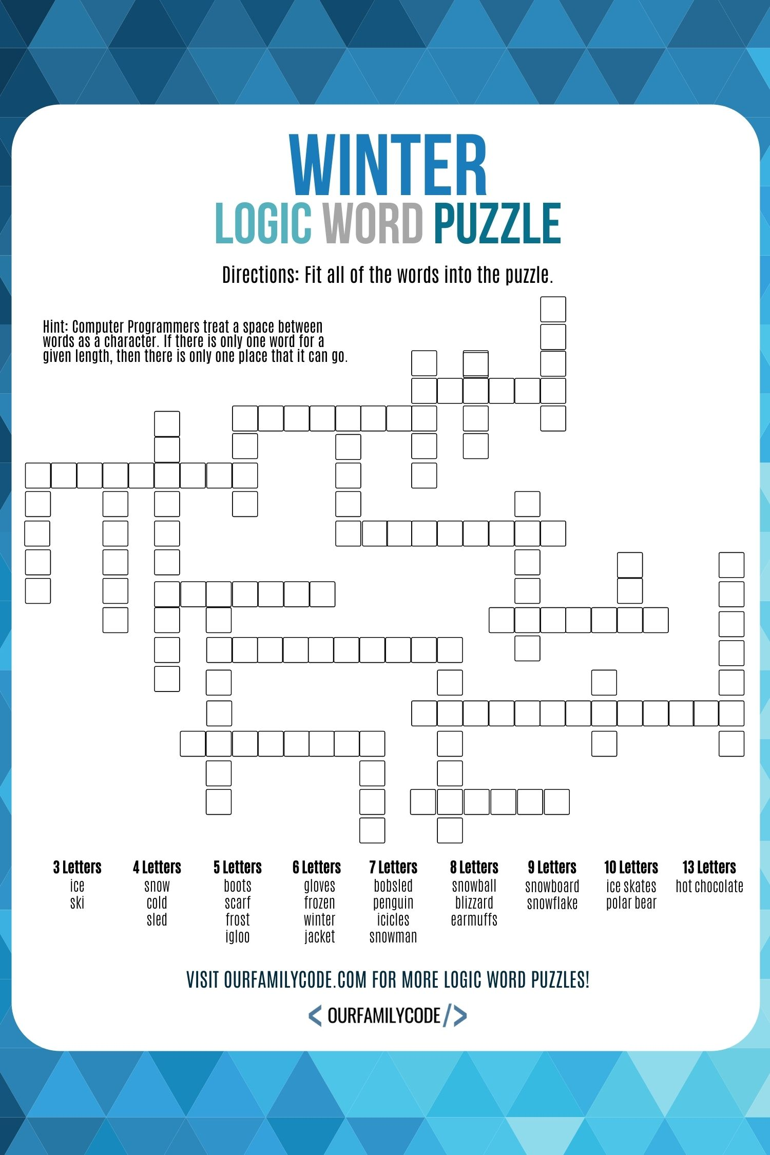 this winter logic word puzzle activity is a way for kids to use logical  thinking and