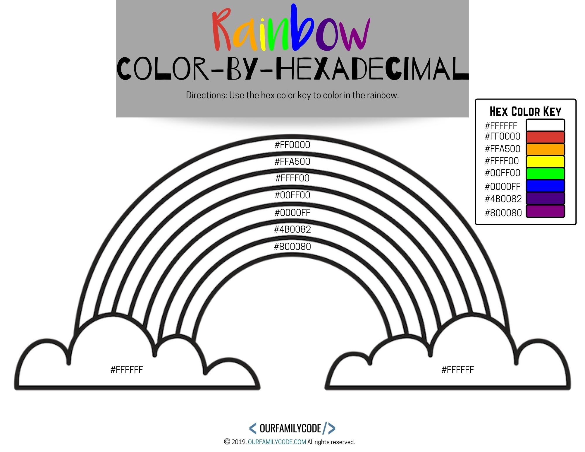 Color by Hexadecimal Rainbow Coding Activity | Our Family Code