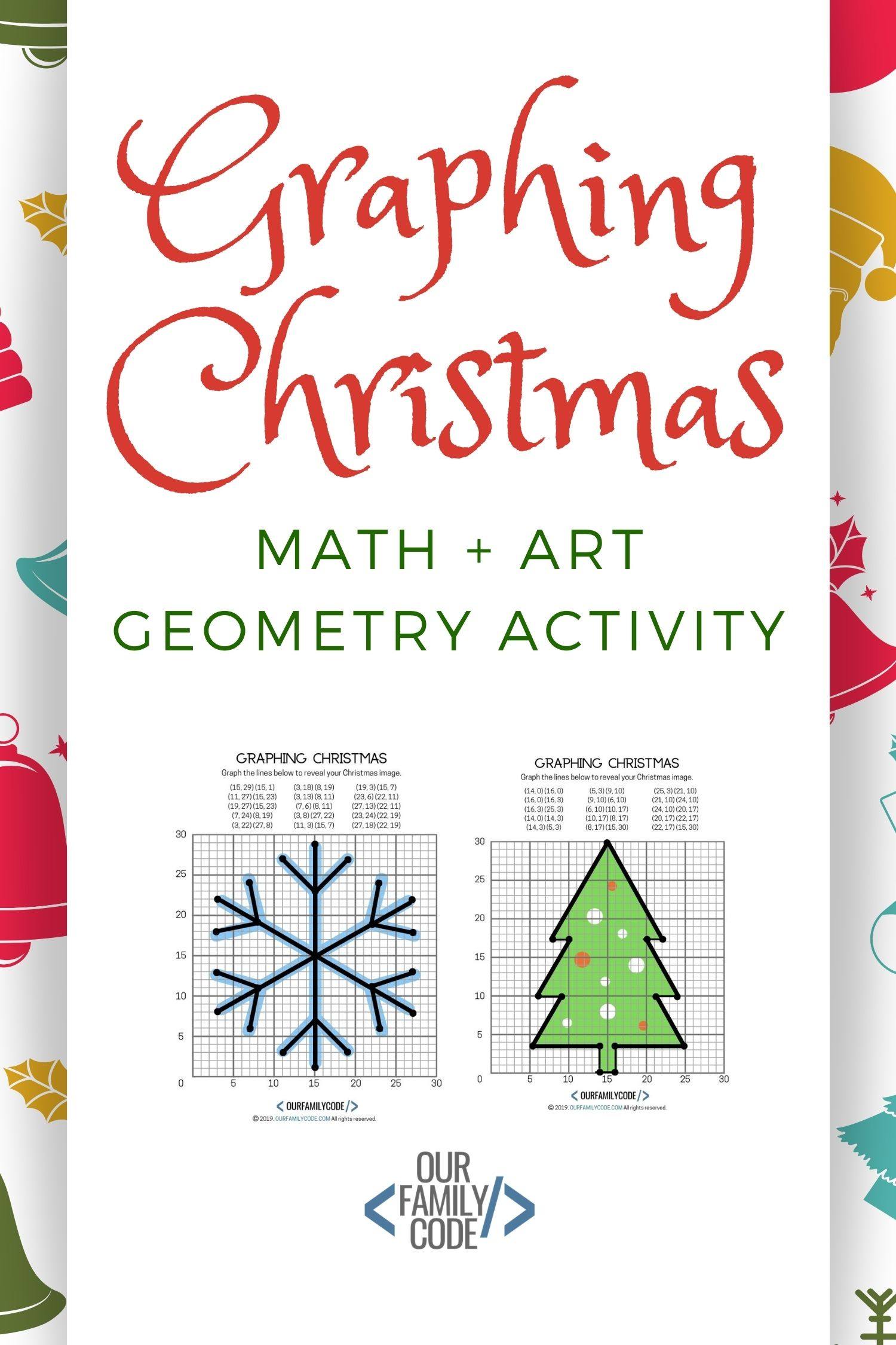Graphing Christmas Coordinates Math Art Activity Our Family Code