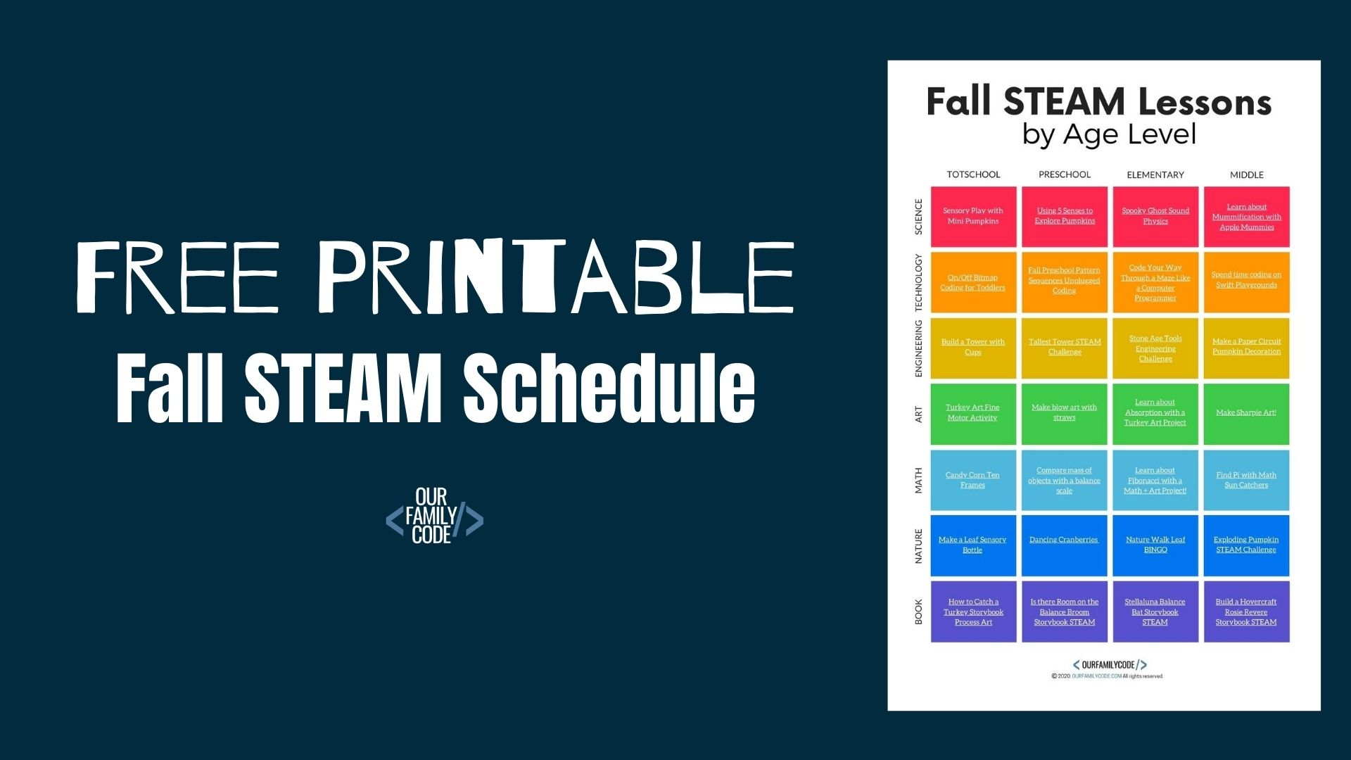 Fall STEAM Lessons by Age: Printable STEAM Schedule